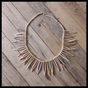 Amazing Vtg 80's pastel tribal statement necklace!
